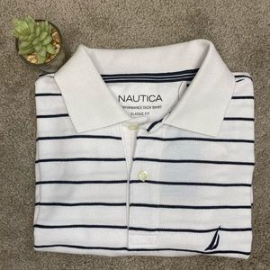 Nautica Men's White Striped Performance Deck Polo
